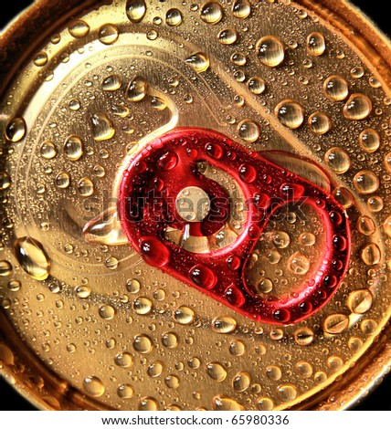 Drink can with water drop. Macro photo
