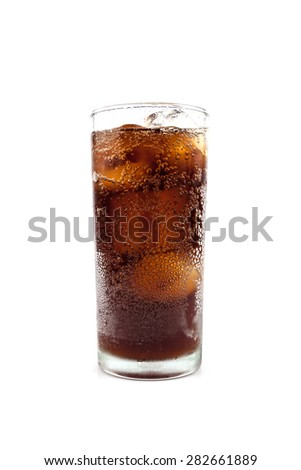 drink cola in glass - stock photo