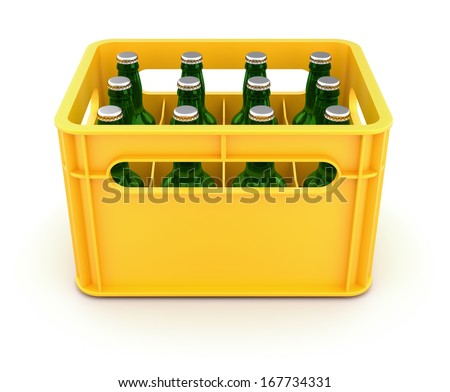 Drink crate with beer bottles - stock photo