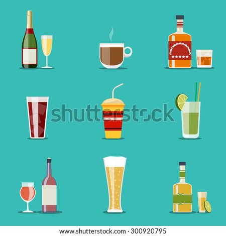 Drink flat icons. Alcohol and beer, wine bottles. Cocktail and champagne, wineglass and tequila, coffee mug, cognac and juice - stock photo