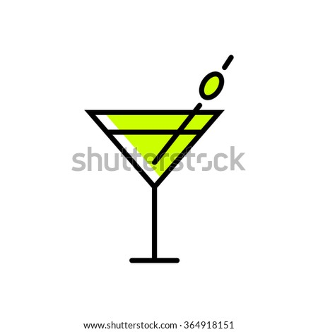 Drink icon in thin line style