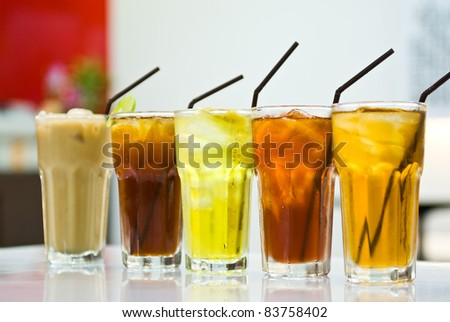 drink in a glass on the table - stock photo