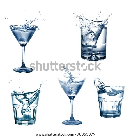 drink or cocktail collection isolated on a white background - stock photo