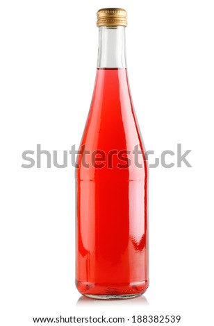 Drink red, in a glass bottle on a white background.