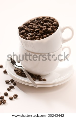 drink series: coffee beans in the cups