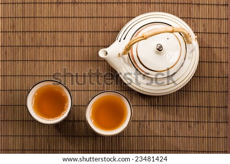 drink series: two cup of tea and teapot