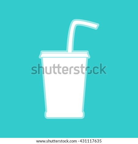 Drink sign. White icon on torquoise color