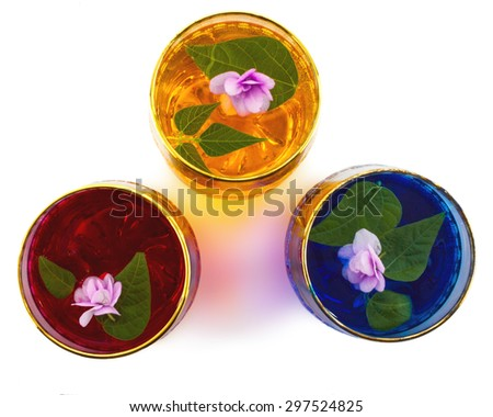 Drink three colors of flowers, close-up view from above, white background - stock photo