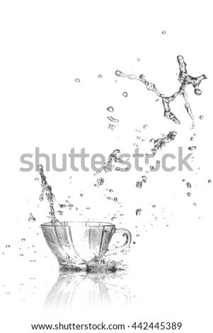 drink water  splash from glass on white background. - stock photo
