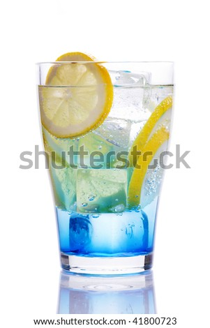 Drink with blue curacao - stock photo