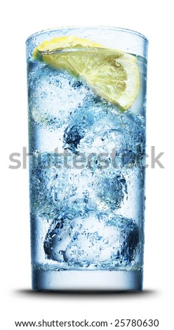 Drink with ice and lemon slice close-up isolated on white - stock photo