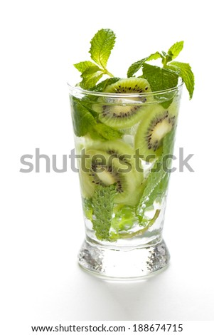 Drink with Kiwi. Selective focus. - stock photo