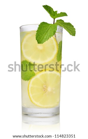 Drink with lemon, ice and mint isolated on white background - stock photo