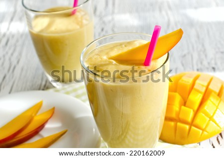 Drink with mango and yoghurt - stock photo