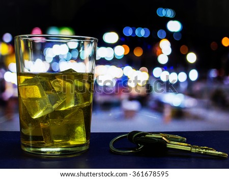 Drinking alcohol on driving ability declines - stock photo