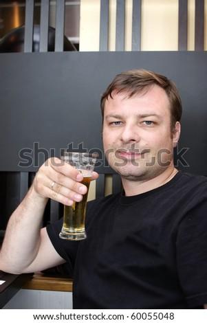 Drinking beer - stock photo