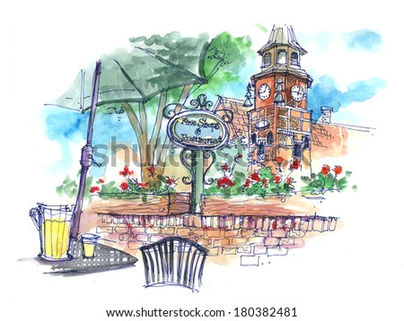 drinking beer in Danish town in Solvang, USA beautiful illustration - stock photo
