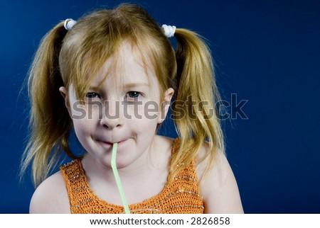 Drinking child - stock photo