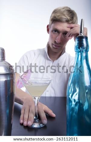 drinking drunk man on white background - stock photo