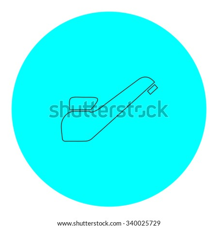 Drinking faucet. Black outline flat symbol on blue circle. Simple illustration pictograh on white background - stock photo