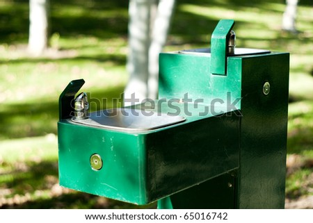 Drinking Fountains in the Park - stock photo