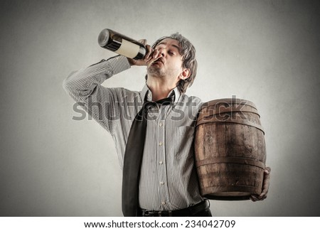 Drinking from the bottle  - stock photo