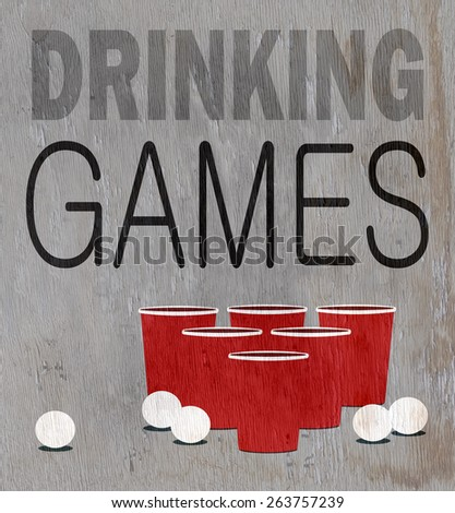 drinking games design on wood grain texture - stock photo