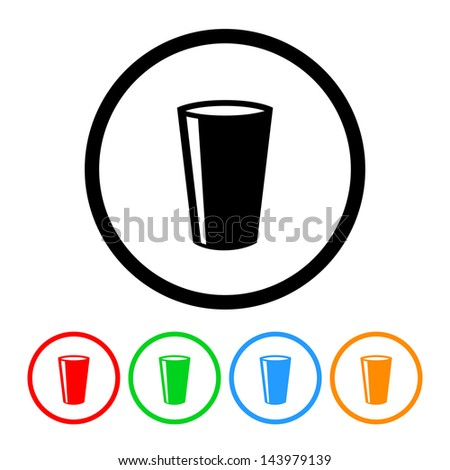 Drinking Glass Icon with Four Color Variations - Raster Version.  Vector Also Available. - stock photo
