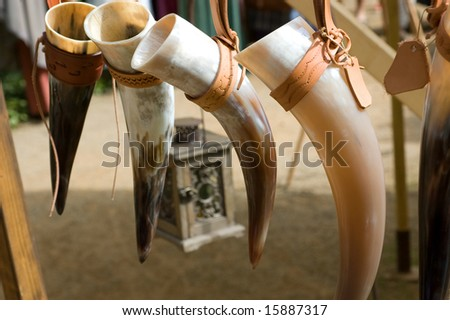 Drinking horns - stock photo