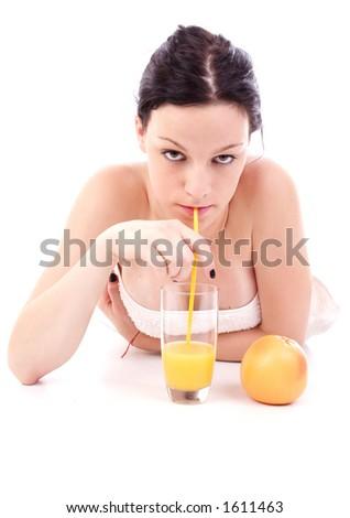 drinking juice - stock photo