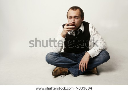 Drinking man - stock photo