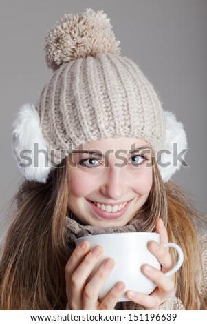 Drinking tea - stock photo