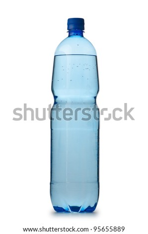 Drinking Water in bottles on white