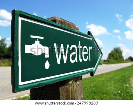 DRINKING WATER road sign - stock photo