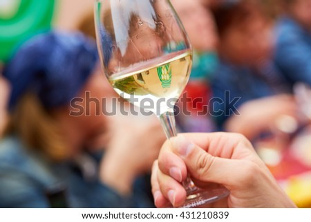 drinking white wine