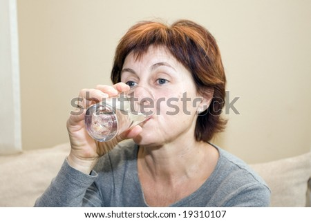 drinking woman - stock photo