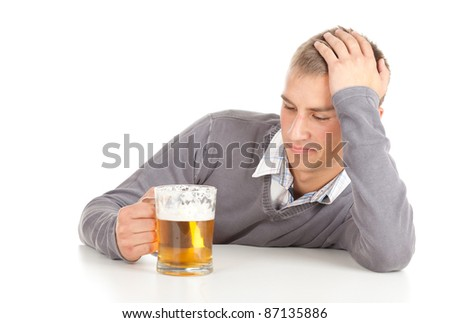 drinking young handsome man with beer, white background