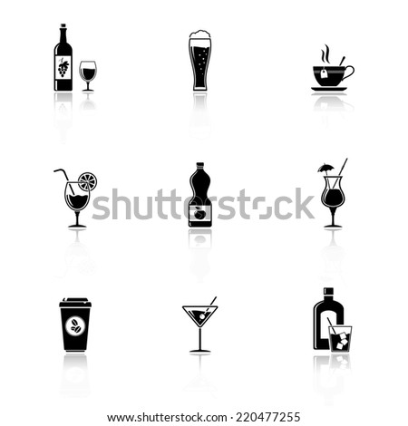 drinks & beverages icons with reflection - stock photo