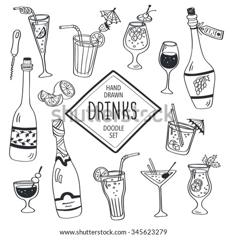 Drinks doodle set. Hand drawn cocktails icons isolated on white background. Doodle beverages collection. Bottles, glass, cocktails. Water, wine and juice. - stock photo