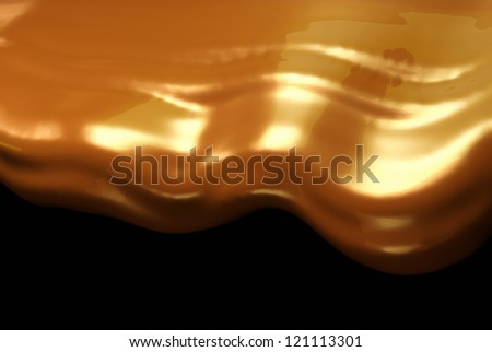 Drinks: Hot chocolate or cocoa flow over black background - stock photo