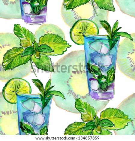 Drinks pattern on food background. watercolor. - stock photo