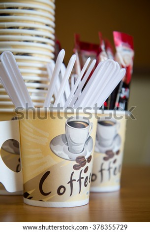 Drinks receptions with During breaks ( Coffee in disposable cup with plastic spoon) - stock photo