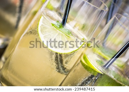 drinks with drinking straw - stock photo