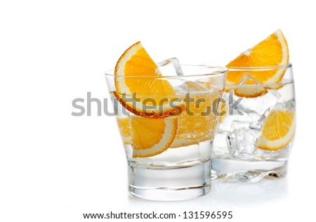 drinks with orange on a white background