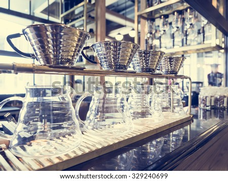 Drip Coffee Glass Kits Coffee shop Cafe Display Vintage tone - stock photo