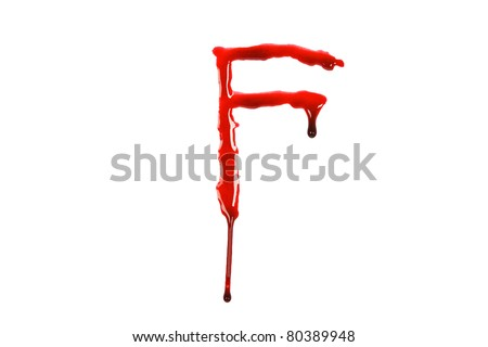 Dripping blood fonts the letter F - stock photo