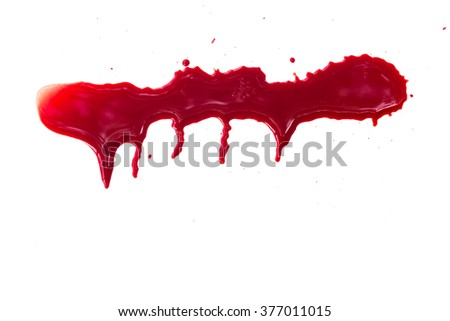Dripping blood on white background - stock photo