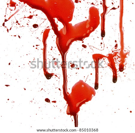 Dripping blood splatters - stock photo