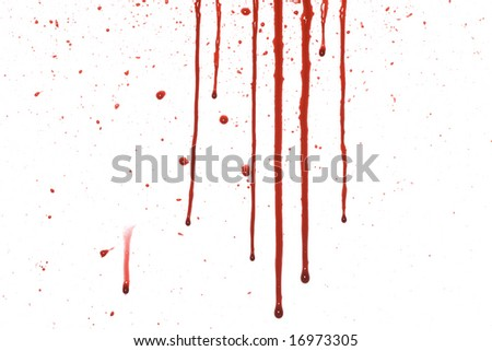 Dripping blood with splatter pattern isolated on a white background - stock photo