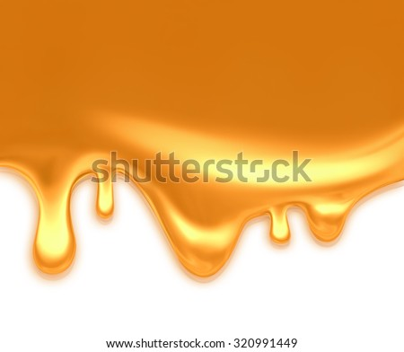 dripping caramel on light background